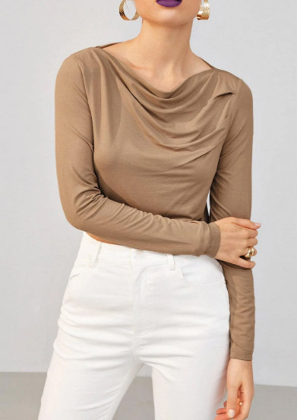 Sofia Cowl Neck Top (Camel)
