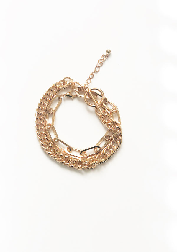 Two Chains Gold Bracelet