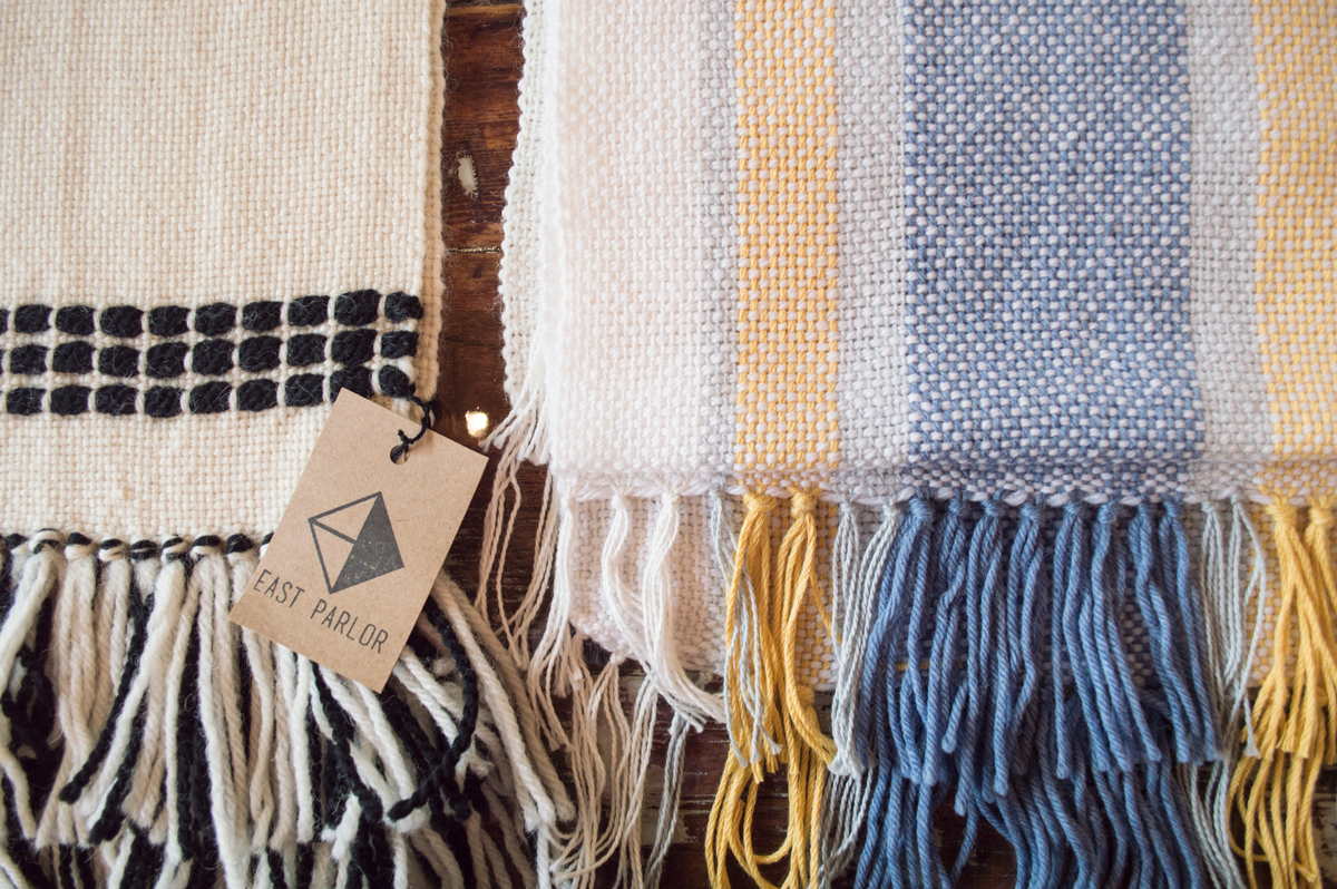 Handwoven table runners by East Parlor artist Sarah Parys of Omaha, NE