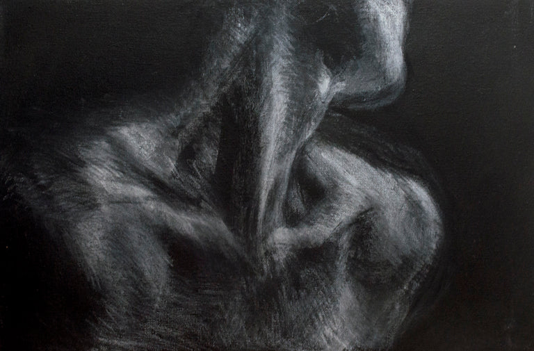 Artist Dujoh Ollivierre is known for his black and white figure drawings.