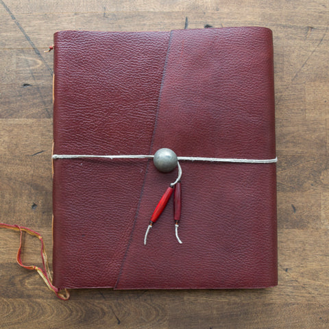 10x8 Crimson Leaf Leather Sketchbook