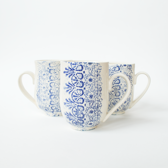 Cobalt Lace Mugs