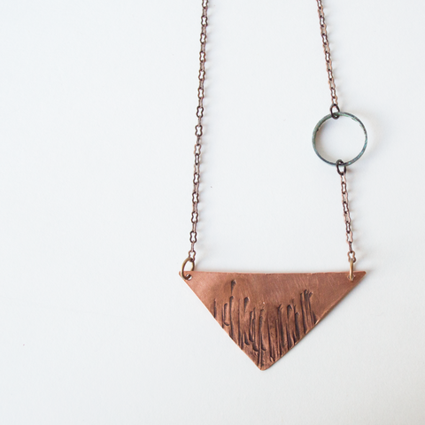 Hammered Copper Triangle Necklace
