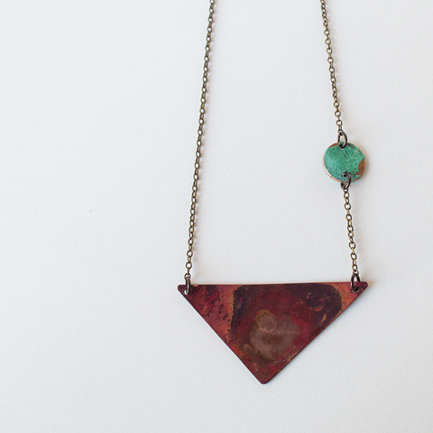 Triangle Heat Patina Necklace