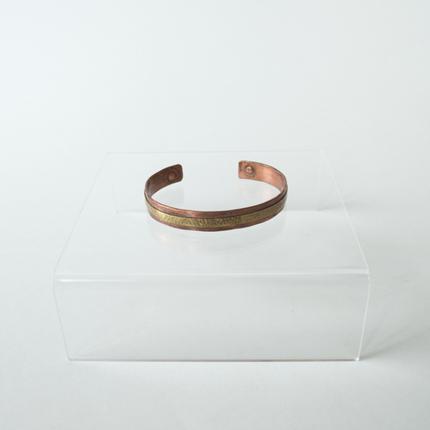 Brass and Copper Textured Cuff Bracelet