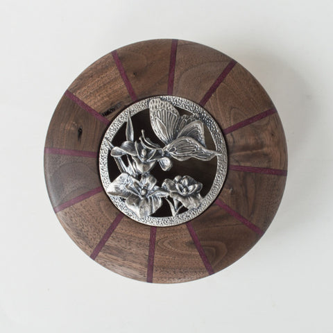 Striped Walnut and Purple Heart Butterfly Bowl