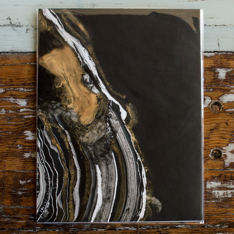 """Gold, Black & White Geode"" - Original Mixed Media Painting"
