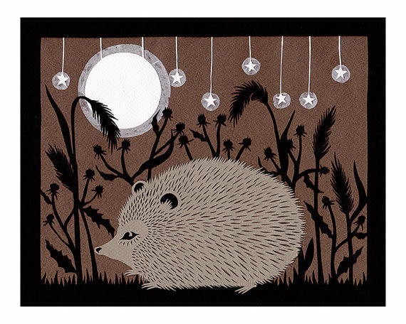 """Hedgie"" - 8x10 Cut Paper Art Print by Angie Pickman - Lawrence, KS"
