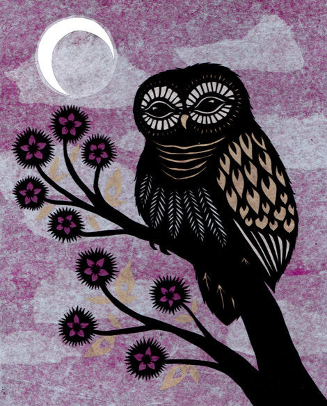 """Owl at Dusk"" - 8x10 Cut Paper Art Print by Angie Pickman - Lawrence, KS"