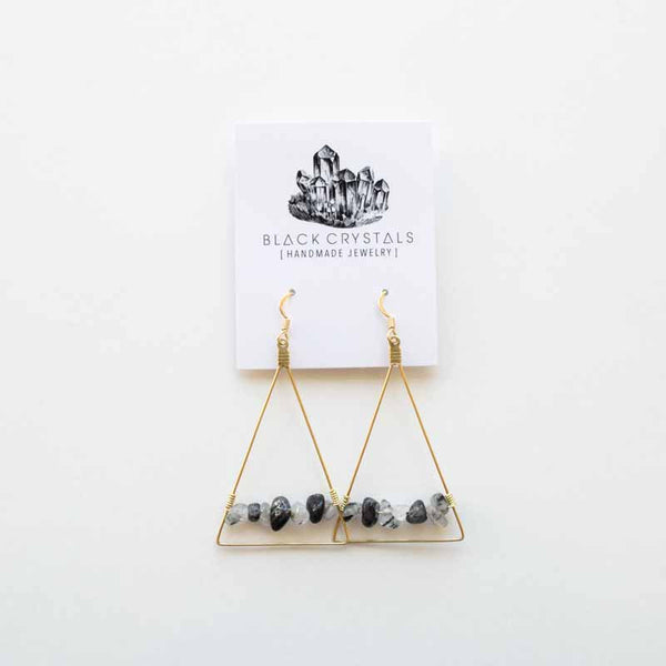Rutilated Quartz Triangle Earrings