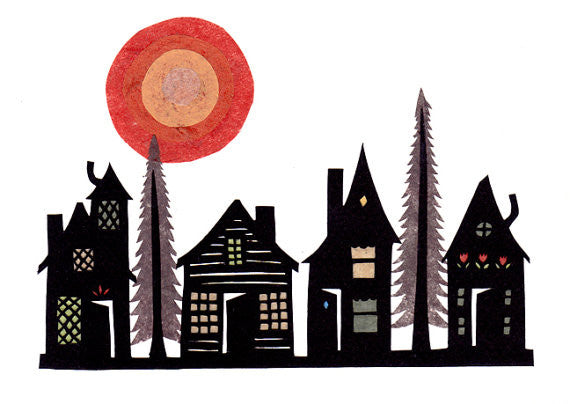 """Wooded Village"" - 5x7 Cut Paper Art Print by Angie Pickman - Lawrence, KS"