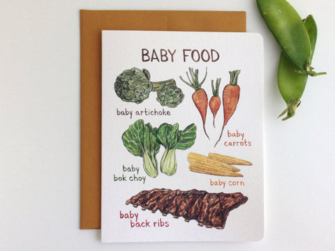 Baby Food Punny Baby Card
