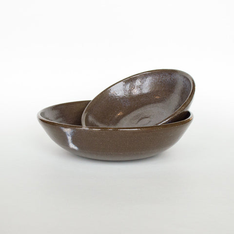 Black Clay Shallow Bowl Set