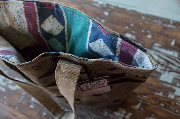 Waxed Canvas Patterned Tote