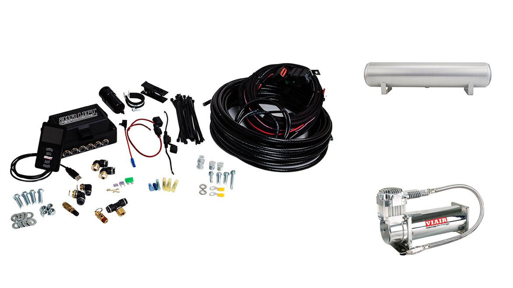 "Air Lift Performance 3P (1/4"" Air Line, 4 Gallon 5-Port Lightweight Raw Aluminum Tank, VIAIR 444C Compressor)"