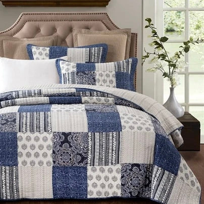Classic Blue Horizon Patchwork Coverlet Bedcover Set Available in 3 Sizes