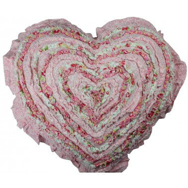 Shabby Chic Millie Frill Heart Cushion
