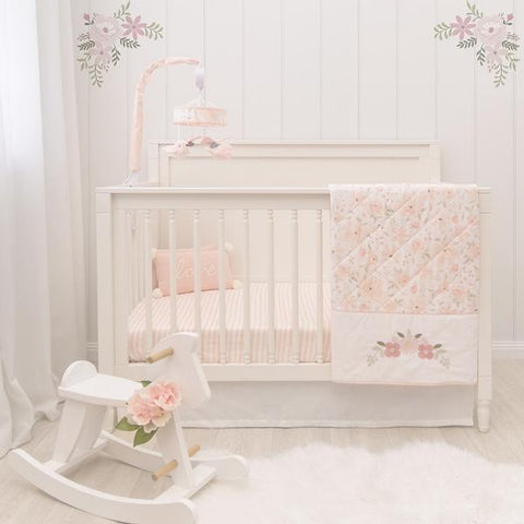 4 piece Meadow Blush Floral Cot Comforter Nursery Set