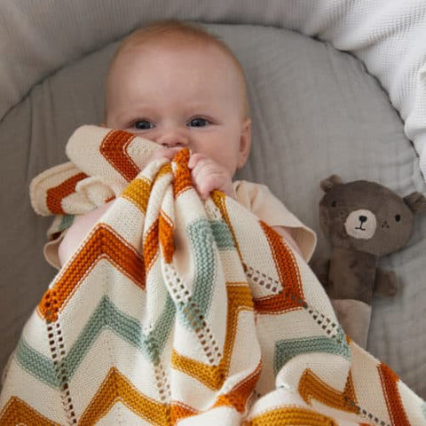 Brick  Zig Zag Cotton Knit Baby Blanket