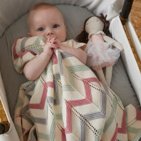 Blush Zig Zag Cotton Knit Baby Blanket