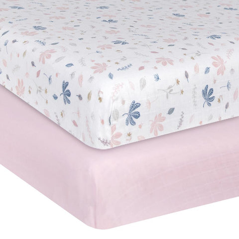 Organic Muslin 2 pack Cot Fitted Sheets Botanical / Blush Girls Nursery