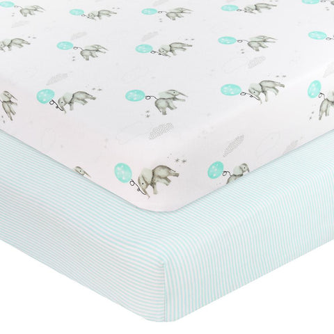 2 pack Jersey Cot Fitted Sheet Elephant Dream Big & Aqua Stripe