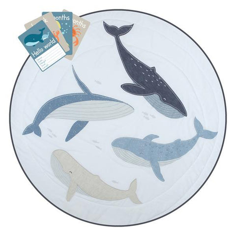 Round Baby Whales Play Mat with Milestone Cards Oceania