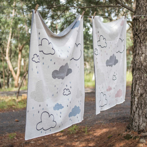 Baby Boys Girls Clouds Cotton Gift Boxed Blanket in Blue or Pink