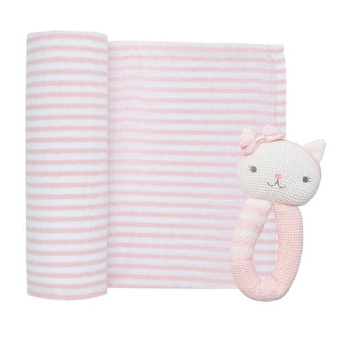 2 Piece Pink Daisy Cat Rattle & Blush Stripe Muslin Swaddle Wrap Gift Set