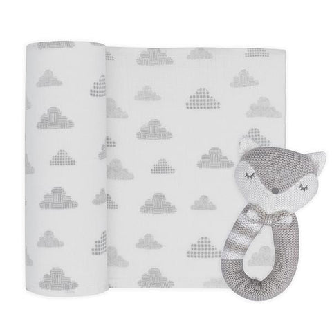2 Piece Fox Rattle & Grey Cloud Muslin Swaddle Wrap Gift Set
