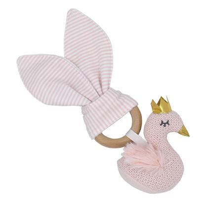Swan Knitted Toy Teether Rattle Newborn Baby Shower Gift Idea