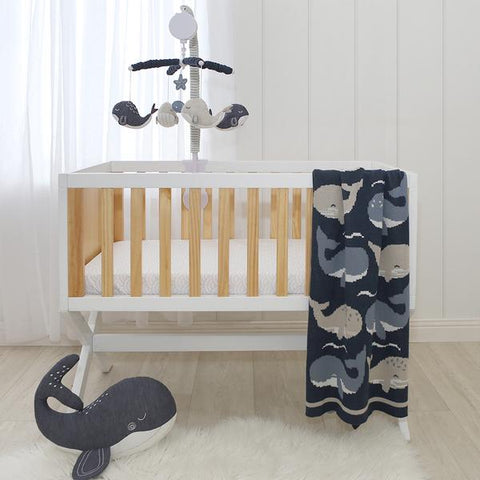 Blue Whales Oceania 100 % Cotton Knitted Baby Bassinet Pram Blanket