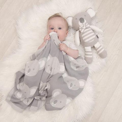 Grey Koala 100 % Cotton Knitted Baby Blanket