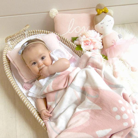 Pink Floral 100 % Cotton Knitted Meadow Baby Bassinet Pram Blanket