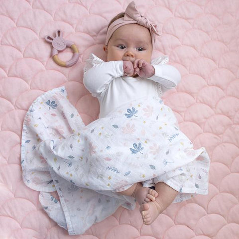 Organic Muslin Swaddle Wrap & Teether Gift Set in Botanical / Blush