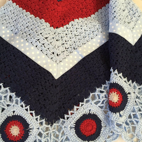 Hand Crochet baby blanket in Blue & Red