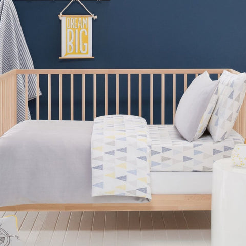 Alexander Grey Cot Quilt Cover, Pillow Case & Wool Quilt Nursery Baby Bedding Set