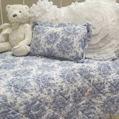 Blue Provincial Cot Quilt & Cushion Set Nursery Bedding