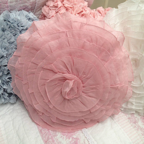 Shabby Chic Rose Flower Cushion in Pink White or Blue