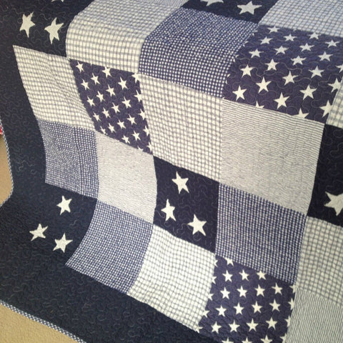 Lachlan Cotton Quilted Patchwork Throw Rug in Navy