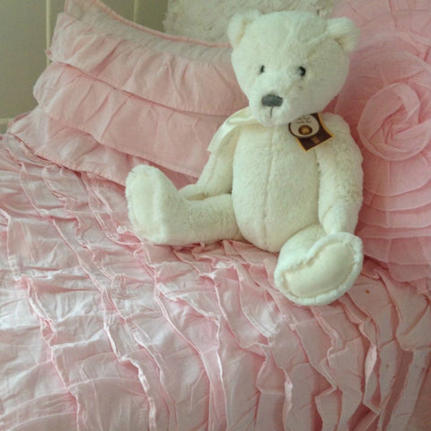 Shabby Chic Ruffle Cot Quilt & Cushion Set in Pink
