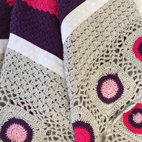 Hand Crochet baby blanket in Hot Pink
