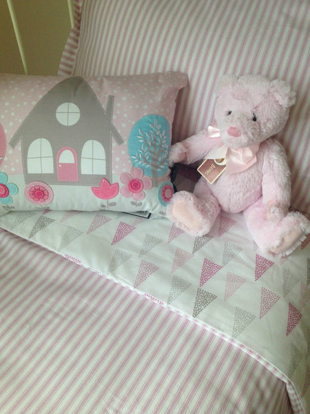 Lily Pink Cot Quilt Cover Set Baby Bedding Sale Lovely Linen