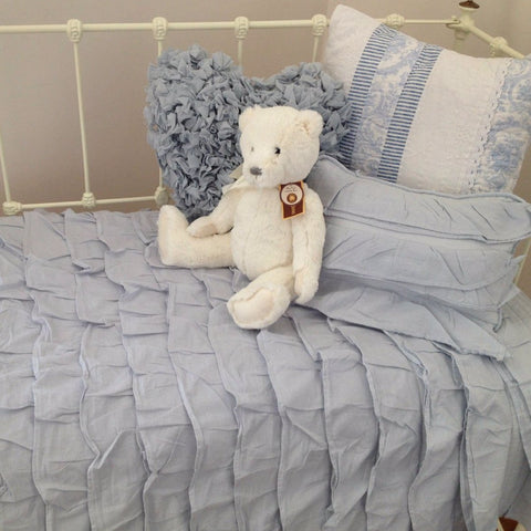 Shabby Chic Ruffle Cot Quilt & Cushion Cover Set in Blue
