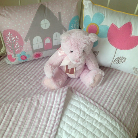 Cameron Quilted Cot Coverlet Baby Bedding in Pink