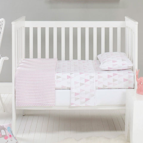 Cameron Cotton Quilted Cot Coverlet Baby Blanket in Pink & White