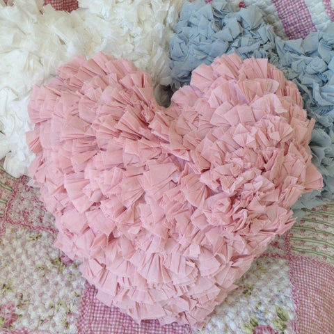 Shabby Chic Ruffle Heart Cushion in Pink White or Blue