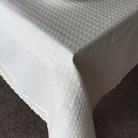 Natural Waffle Weave Table Cloth with Lace Trim