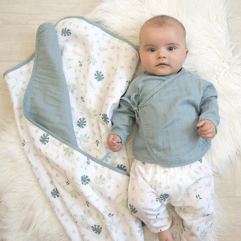 Organic Cotton Muslin Pram Bassinet Blanket Banana Leaf / Teal