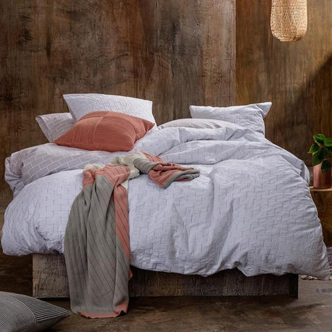 KAS Fletcher Grey White Textured Quilt Cover Set